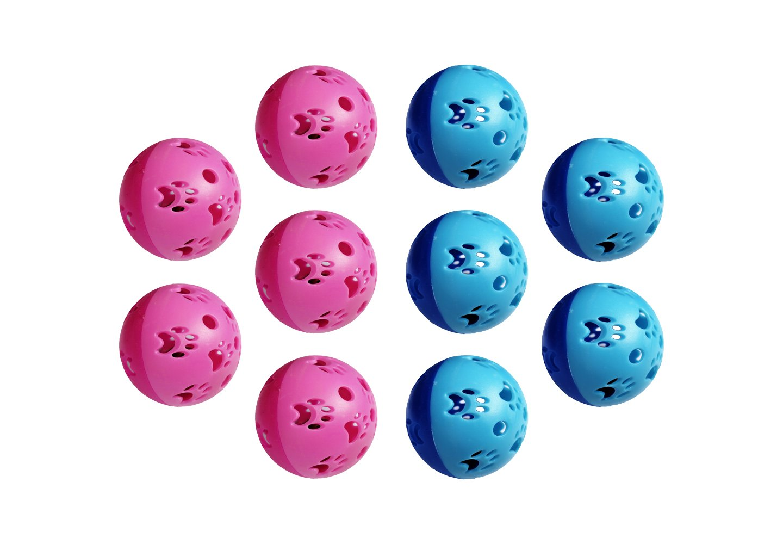 Actopus 10PCS 5cm Dia. Play Balls Pet Cat Kitten Jingle Bells Pounce Chase Rattle Toy