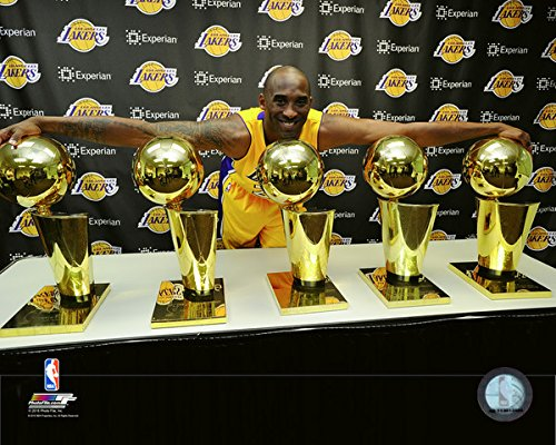Kobe Bryant Los Angeles Lakers 5 NBA Championship Trophies Photo (Size: 8