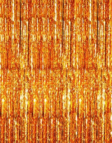 GOER 3.2 ft x 9.8 ft Metallic Tinsel Foil Fringe Curtains for Party Photo Backdrop Wedding Decor (Orange,1 Pack) ()