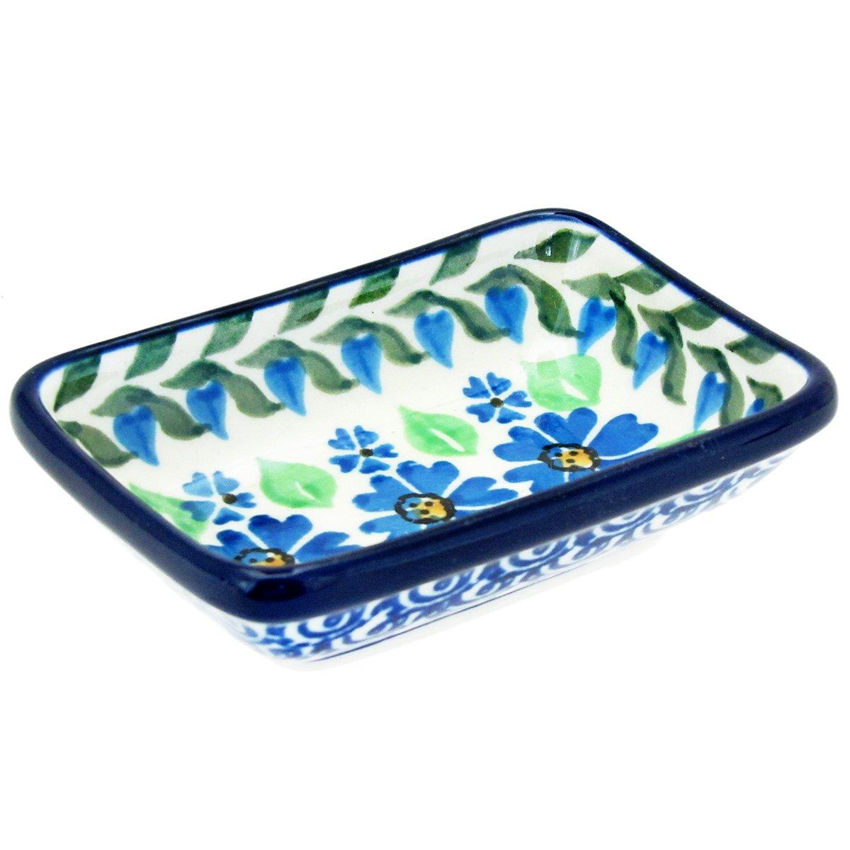Polish Pottery Handmade 4'' Rectangle Condiment Dish C20- Daisy Dance