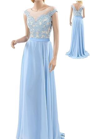 Bampo Light Sky Blue Scoop Neckline Prom Dresses 2017 (2, Light Sky Blue)