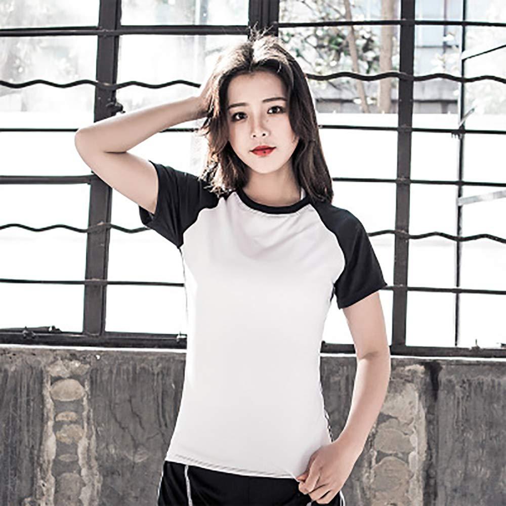 HWTP Frauen-Polo-Shirt, Fitness-Trainings-Sweatshirt Laufbekleidung Yoga-Kurzarm-Sportoberteile Frauen-Fitnessoberteile,a,M