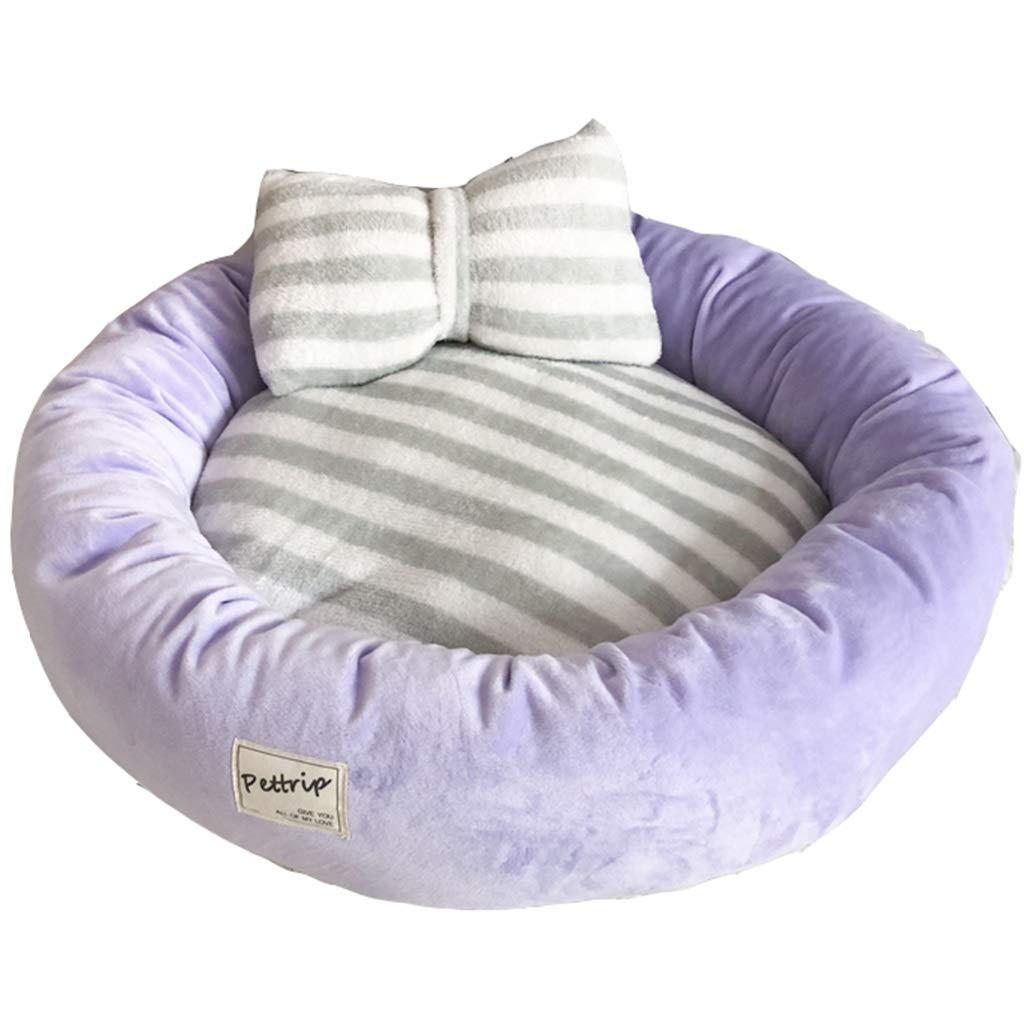 PURPLE 45CM PURPLE 45CM Pet Mat, Large Dog Kennel Cat House Removable and Washable Pet Nest Wear-Resistant Bite Pet Bed Pet Supplies (color   Purple, Size   45CM)