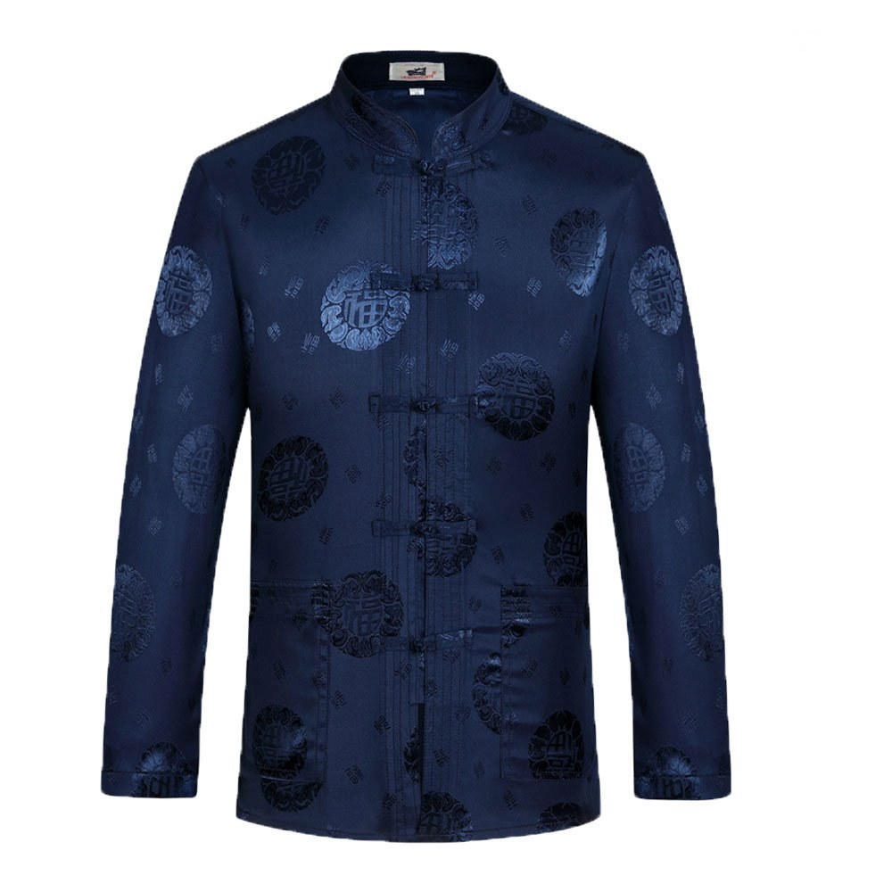Tang Suit Man Traditional Chinese Clothing Suits Hanfu Spring festival gifts Uniform Cotton Long Sleeve (M, Blue)