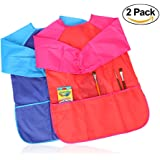 Bidlsbs Children's Artists Aprons 2 Pieces Waterproof Long Sleeves Craft Art Smock Toddler Kid Painting Supplies with 3 Roomy Pockets Drawing Kitchen Cooking Baking Smock 3-8 Years Old Artist Blue Red