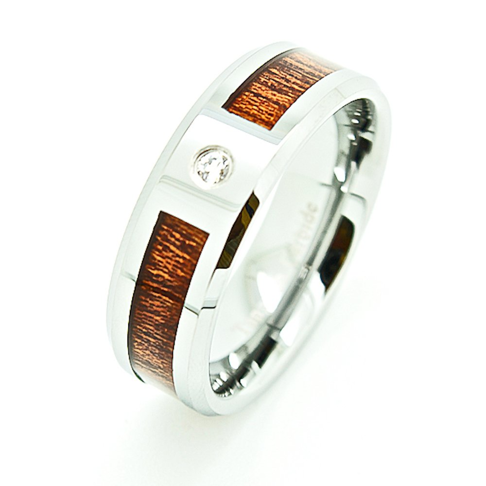 Unisex 8mm Tungsten Carbide Wedding Band with Wood Grain Inlay & Clear Stone Size 5.5