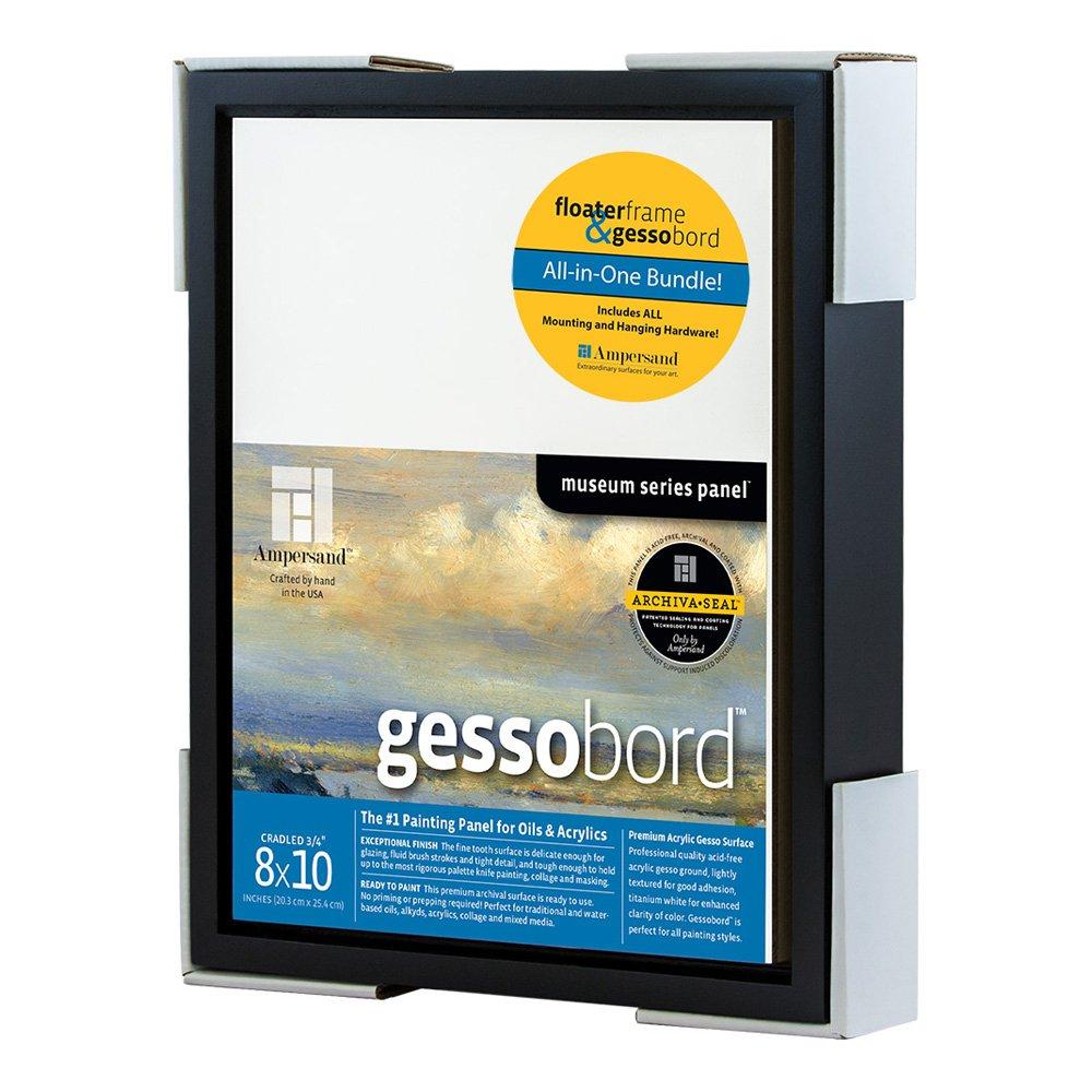 Float Frame 8x10 Black + 8x10 Gessobord Kit AMPERSAND ART SUPPLY