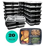 Meal Prep Containers (20 Pack) 3 Compartments, 32 oz, Food Storage Bento Box | BPA Free | Stackable | Reusable Lunch Boxes, Microwave/Dishwasher/Freezer Safe, Portion Control