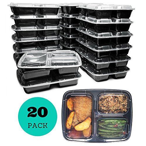 - 3 Compartment Meal Prep Containers with Lids (20 Pack), 32 oz, Food Storage Bento Box | BPA Free | Stackable | Reusable Lunch Boxes, Microwave/Dishwasher/Freezer Safe, Portion Control