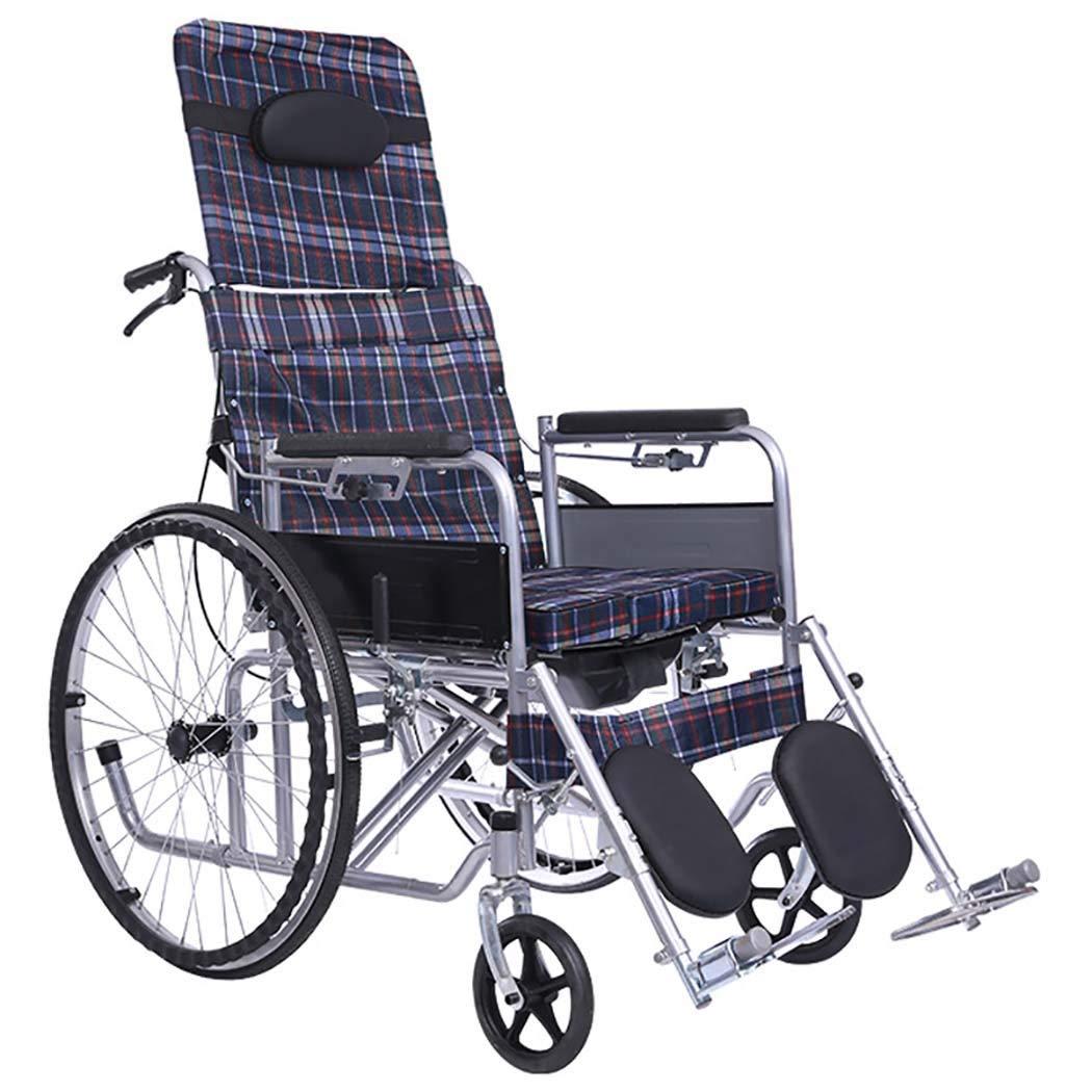 【人気商品】 HSBAIS ドライブメディカルトランスポート車いす軽量折りたたみ、頑丈な耐久性のあるステンレススチール、トイレットボウル付き,lattice_18