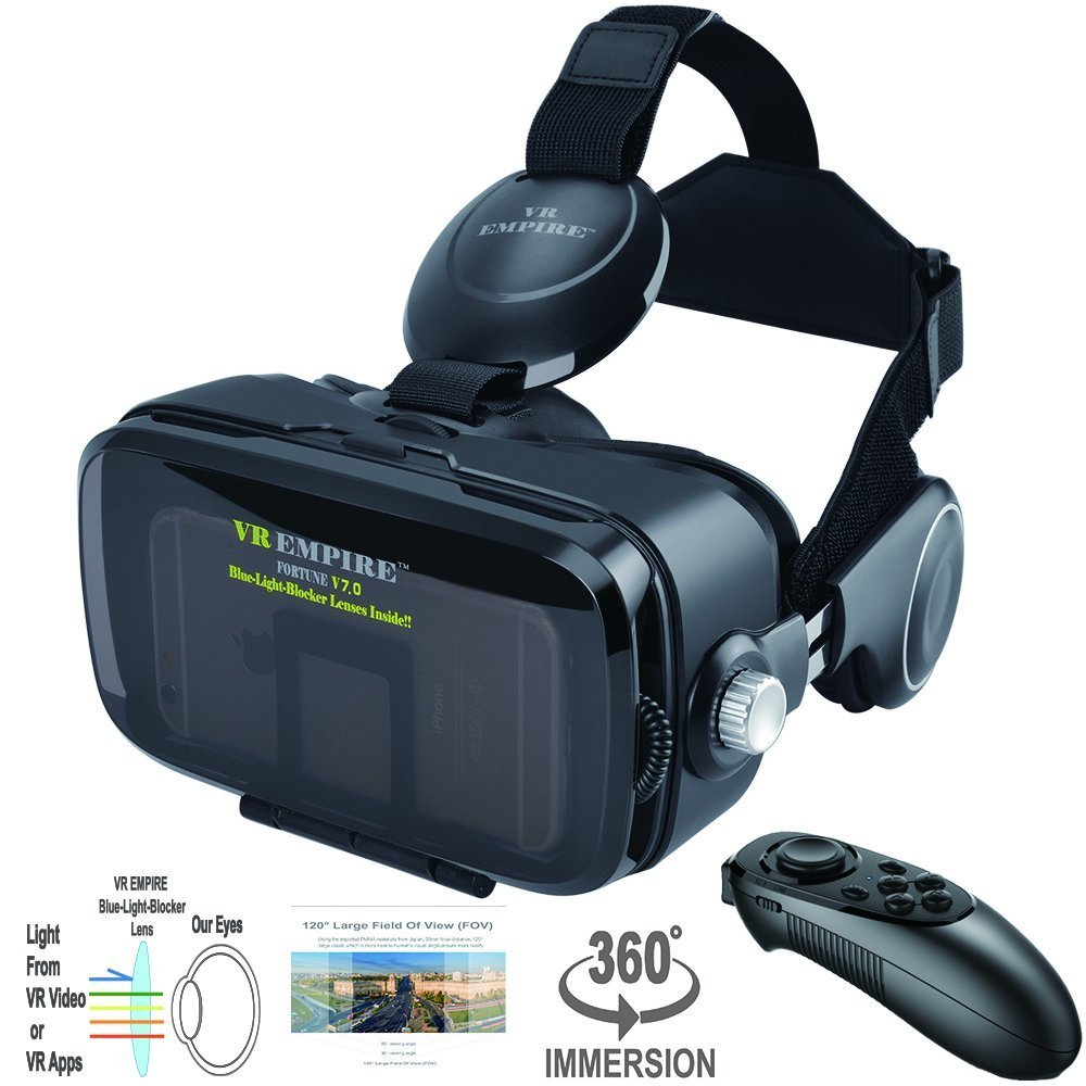 VR Virtual Reaity Headset with VR Remote Anti-Blue-Light Lenses 120° FOV; Stereo Headset 3D Glasses VR Goggles Fit for iPhone Galaxy & All Other 4.0-6.2 inch Cell Phones