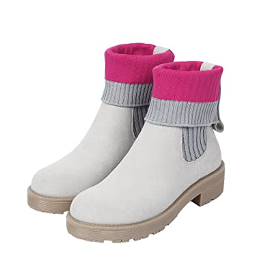 Sock Boots Women Winter Mix-color Grey+pink Rubber Sole 8905-6
