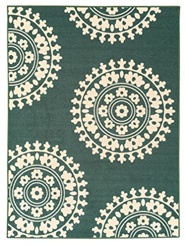 5-feet X 7-feet Non-Skid Rubber Backed Area Rug | TEAL GREEN - IVORY Medallion Modern Rectangle Rugs (Green Ivory Rug)