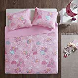 Comfort Spaces Twin Quilt Set Girls - Elfie Twin Bedspread 2 Piece - Pink - Lightweight Summer Ultra Soft Microfiber Printed Flying Fairies Bedspreads Twin Size