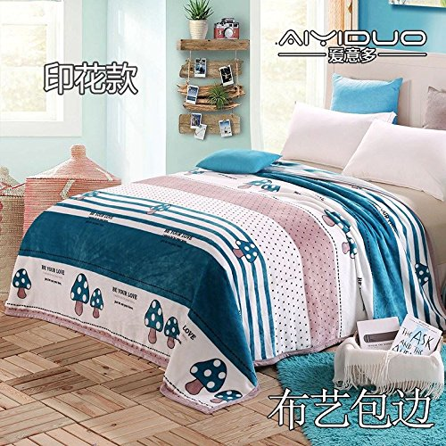 Znzbzt small blanket afternoon nap office single cute mini cover and small blankets winter student adult thick warm ,180x200cm [thick package of health, green fairy Trail