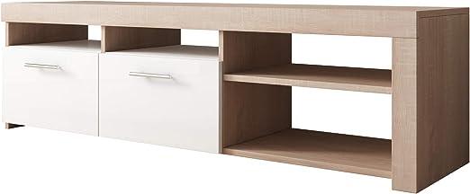 Mueble TV Modelo Clio (140x40cm) Color Sonoma y Blanco: Amazon.es: Hogar