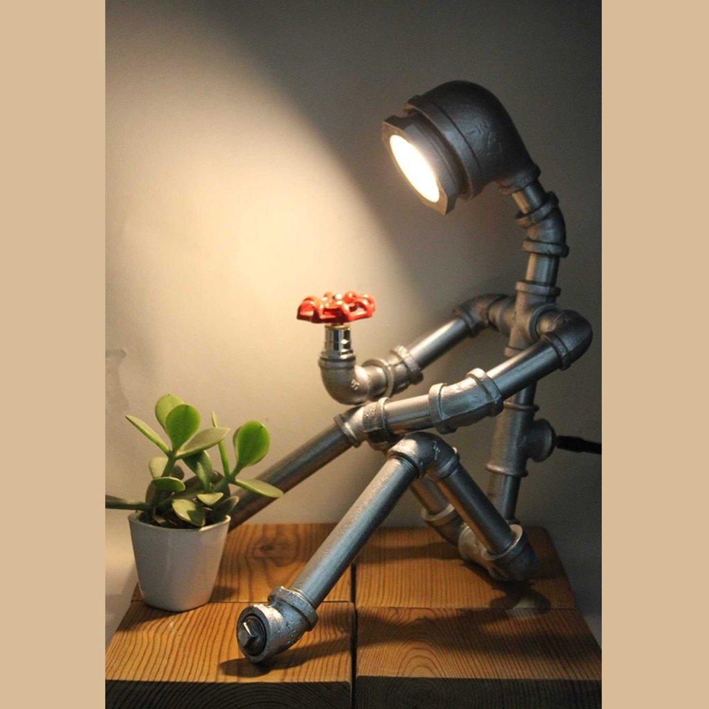 WYZ Creativa Lámpara Creativa WYZ Luces de tubería de Agua, Robot Protección para los Ojos Retro Cafe Bar Estudio de decoración Lámpara de Mesa de Regalo Creativo Diseño de la lámpara (Color : A) 6717e1