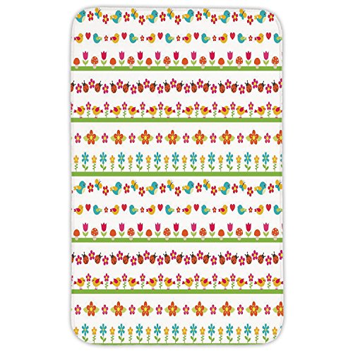 Rectangular Area Rug Mat Rug,Kids,Lovely Border Designs with Birds Ladybugs and Summer Flowers Cheering Nature Cartoon Decorative,Multicolor,Home Decor Mat with Non Slip Backing by iPrint