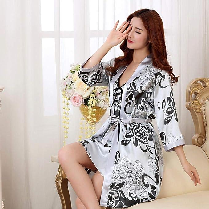 Bata de Seda para Mujer Vestido de Seda Atractivo Vestido de Raso de ...