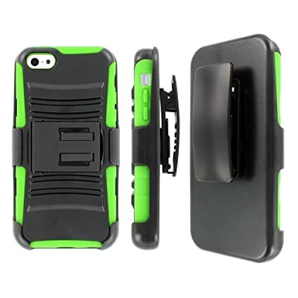 timeless design 63167 6be4a iPhone 5C Belt Clip Case, MPERO IMPACT XT Series Kickstand Case and Belt  Holster for Apple iPhone 5C - Black / Neon Green
