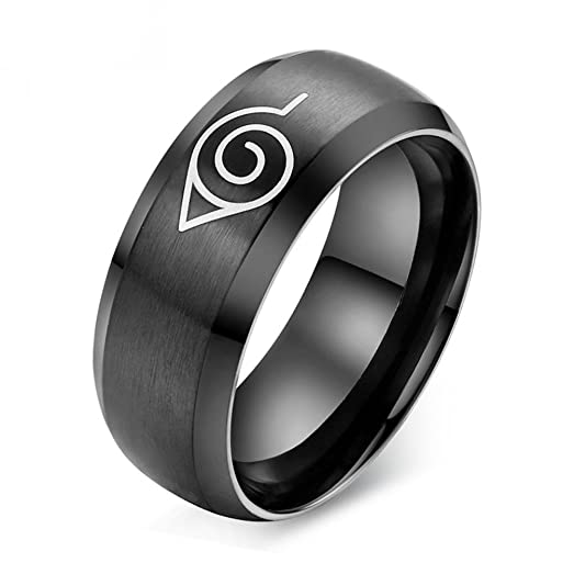 luxxy fashion naruto black cool men jewelry stainless steel anime rings - Anime Wedding Rings