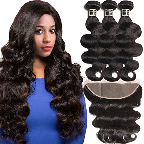Brazilian Body Wave Virgin Hair Bundles with Frontal,13x4 Ear to Ear Lace Frontal with Bundles, Bleached Knots with Baby Hair Natural Color 100g/PC(14 16 18 with 12)