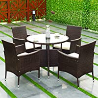 Goplus 5PCS Patio PE Wicker Cushioned Backyard Outdoor Garden Sofa/Dining Set