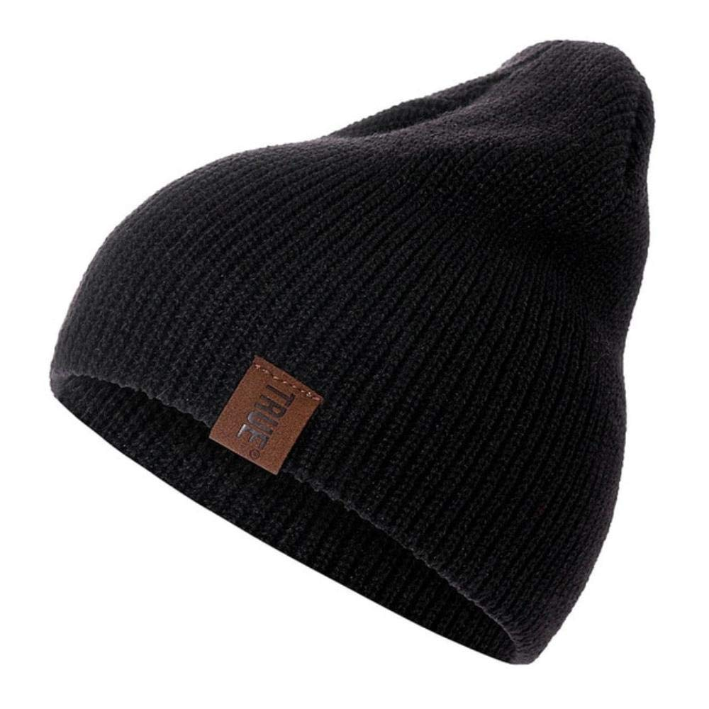 1 Pcs Hat PU Letter True Casual Beanies for Men Women Warm Knitted Winter Hat Fashion Solid Hip-hop Beanie Hat Unisex Cap (Black, 54cm-60cm) at Amazon Mens ...