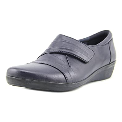 Women's Clarks, Everlay Tara Slip on Low Heel Shoes NAVY ...