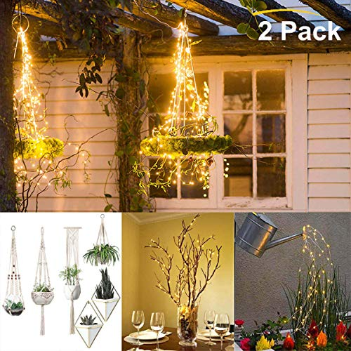 Plant Hanger Decorative Fairy Lights 2 Pack, Geometric Wall Hanging Planter Home Decor Waterproof String Lights for Flower Pot Basket Kettle Vines Cotton Rope Hooks Stand Rack Holder Hammock Chairs