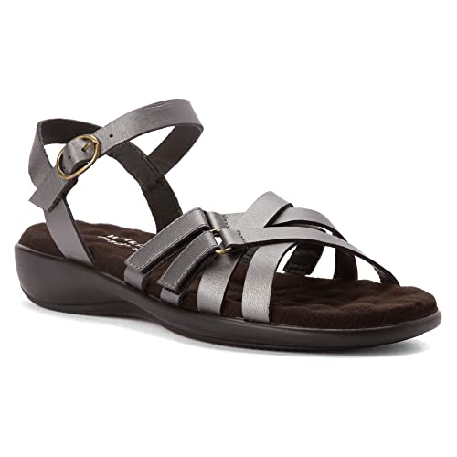 Walking Cradles Women's Sleek Sandal,Pewter Nappa,US 8.5 M