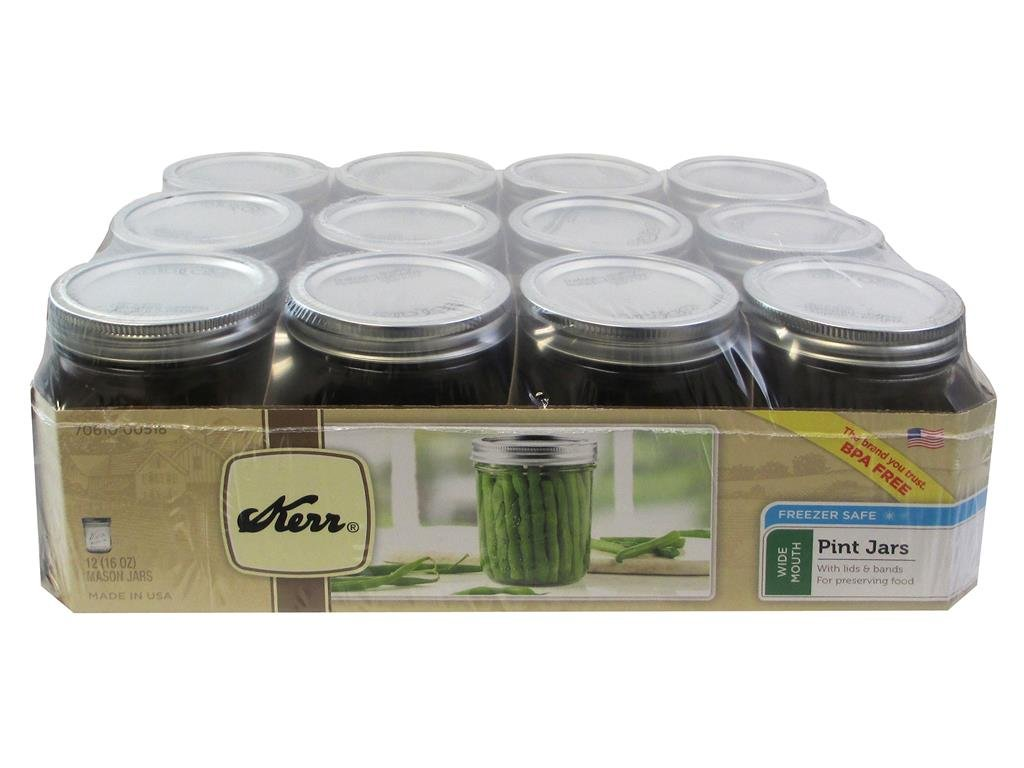 Kerr 0518 wide mouth mason jar pint, 16oz(case of 12)