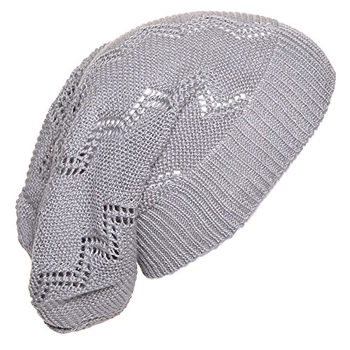 BSB AN. Light Gray Crochet Knit Beanie For Men Women Teens Unique Cap Chevron