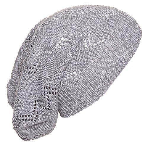 an. Light Gray Crochet Knit Beanie for Men Women Teens Unique Cap Chevron