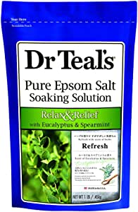 Dr Teals Pure Epsom Salt Soaking Solution with Eucalyptus and Spearmint, Small, 450g