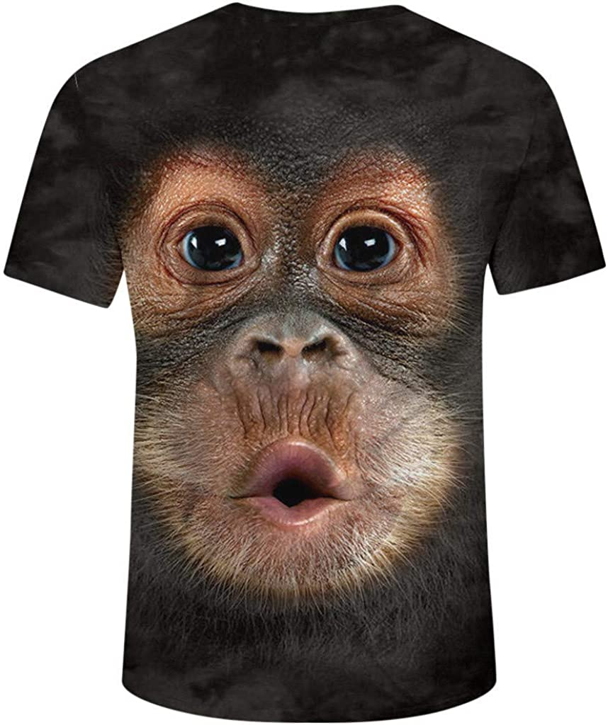 Camiseta para Hombre, Verano Manga Corta 3D Orangutan Impresión ...