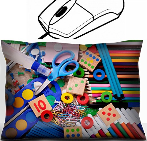 MSD Mouse Wrist Rest Office Decor Wrist Supporter Pillow design: 31200187 Colorful collection of various school supplies by MSD
