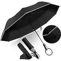 Ombrello Pieghevole Automatico, Antivento Ombrello Portatile Resistenza Compatto Pioggia Ombrello da Viaggio di Alta Qualità Ombrello con Sicura Striscia Riflettente per Uomo e Donna JAANY