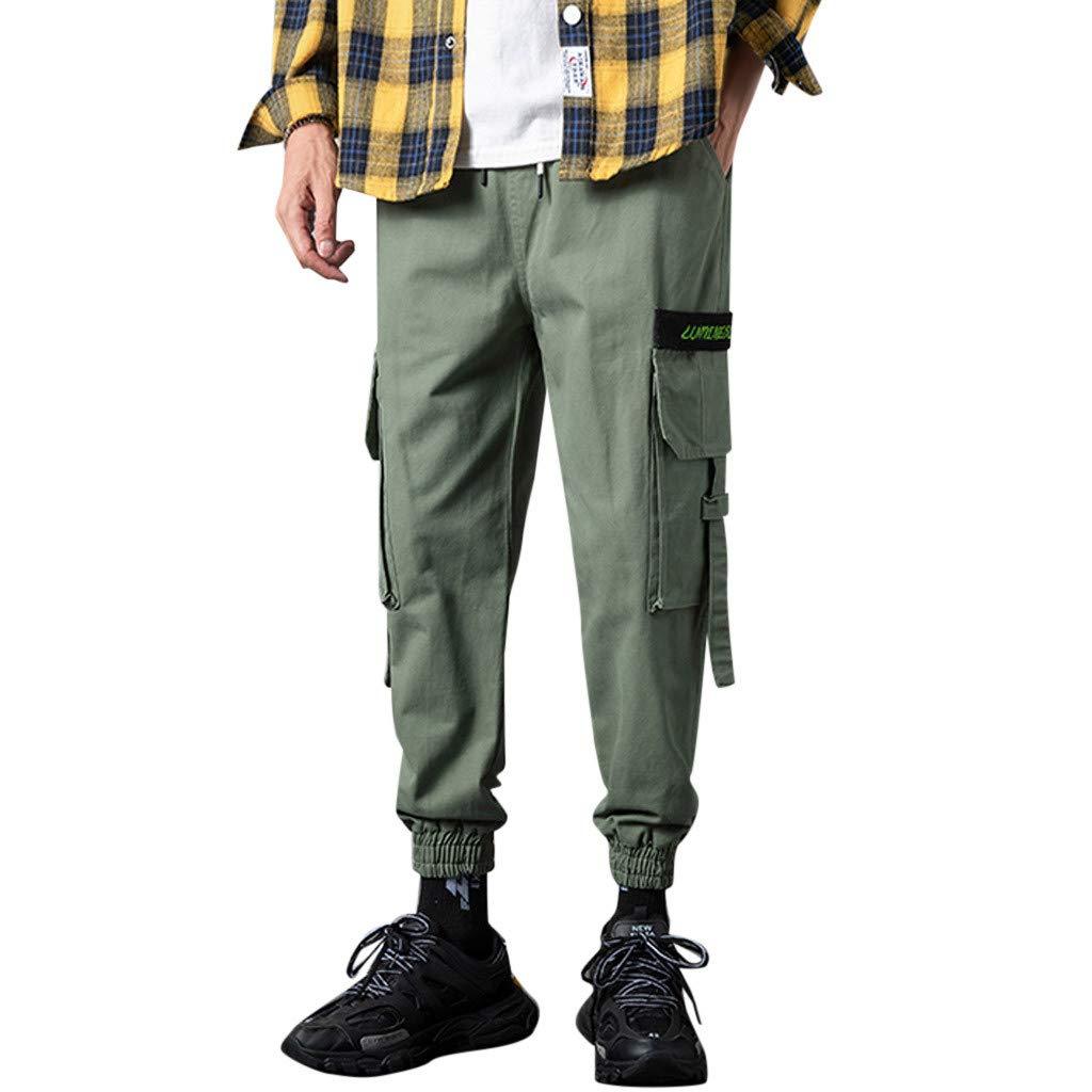 Alalaso Jogger Pants for Men, Men's Casual Elastic Waist Jogger Pants Cargo Pants Ankle Length Pants Army Green