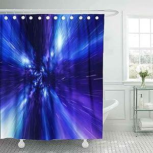 Shorping 78X72 Shower Curtain, Farmhouse Shower Curtain Camping Shower Curtain Jump in Time Vortex Tunnel Blue Galaxy Background Bath Shower Curtain Floral Shower Curtain Shower Curtain