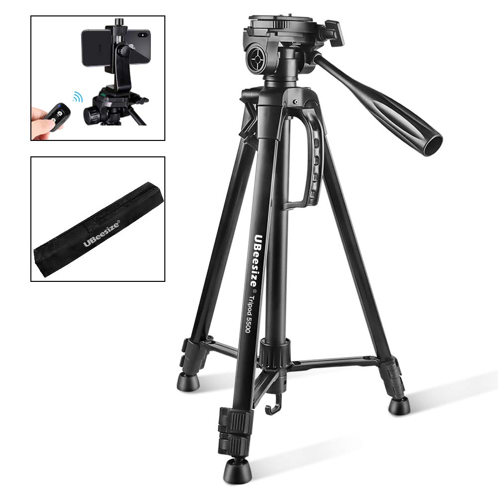 Camera Tripod, UBeesize 55-Inch Lightweight Aluminum Travel Tripod Stand for Canon Nikon Sony DSLR Digital Olympus Video Camera with Universal Smartphone Mount & Carry Bag & Bluetooth Remote by UBeesize