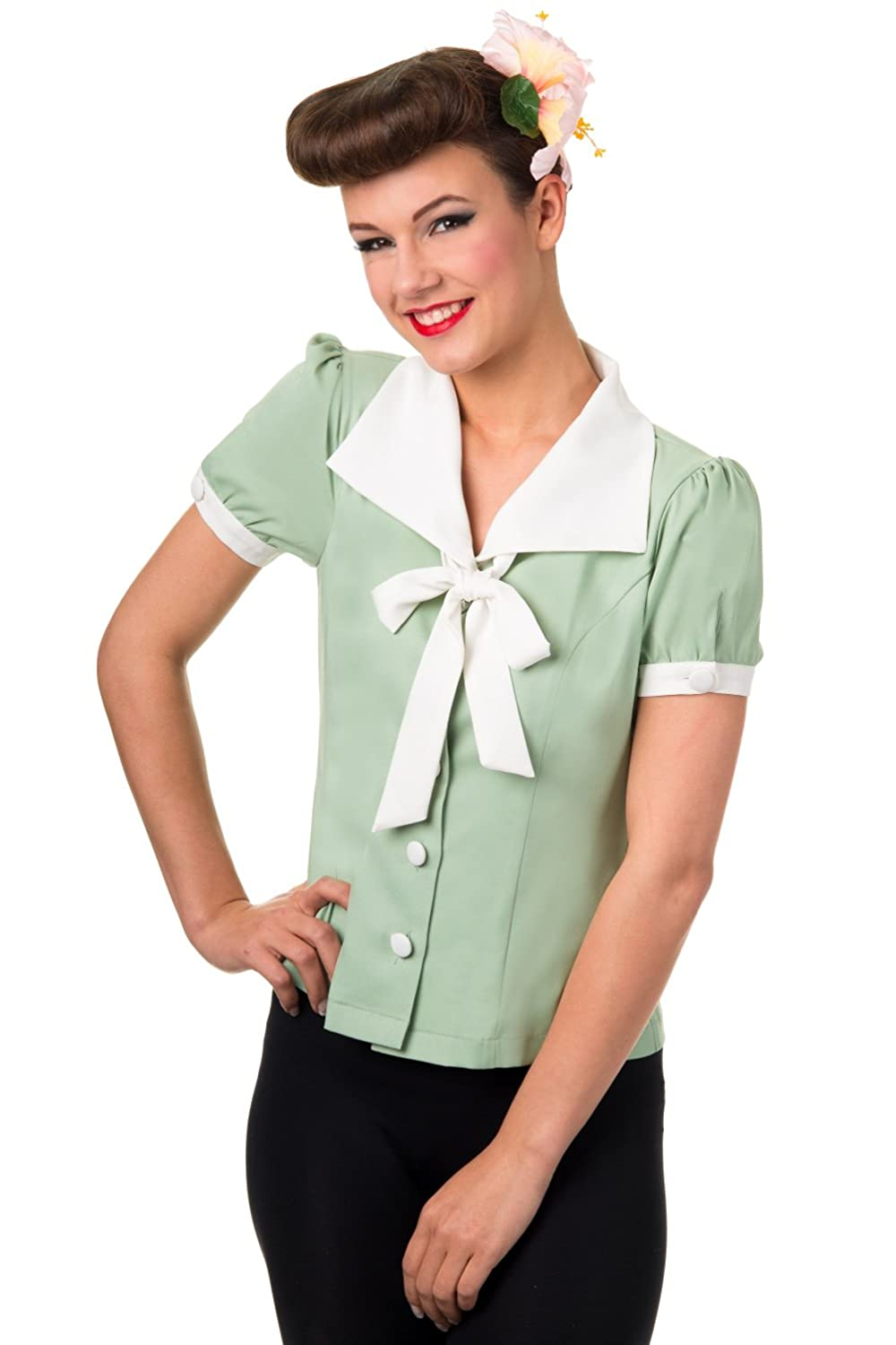 1950s Rockabilly & Pinup Tops, Shirts, Blouses Collar Bow Shirt $29.95 AT vintagedancer.com