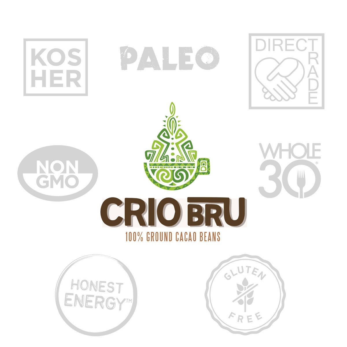 Crio Bru Ghana French Roast 80oz (5 lb) Bag | Natural Healthy Brewed Cacao Drink | Great Substitute to Herbal Tea and Coffee | 99% Caffeine Free Gluten Free Whole-30 Low Calorie Honest Energy by Crio Bru
