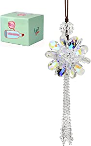Crystal Flower Car Hanging Ornament Car Rear View Mirror Pendant Car Accessories Home Decor(Colorful)