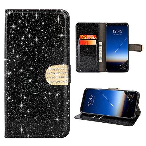 Para Samsung Galaxy S9 Plus Resplandecer Bling Cadena de diamantes PU Funda de cuero, cubierta del soporte del tirón Cartera Titulares Magnética del cierre Ultra Thin Flip Funda protectora con ranura  Negro