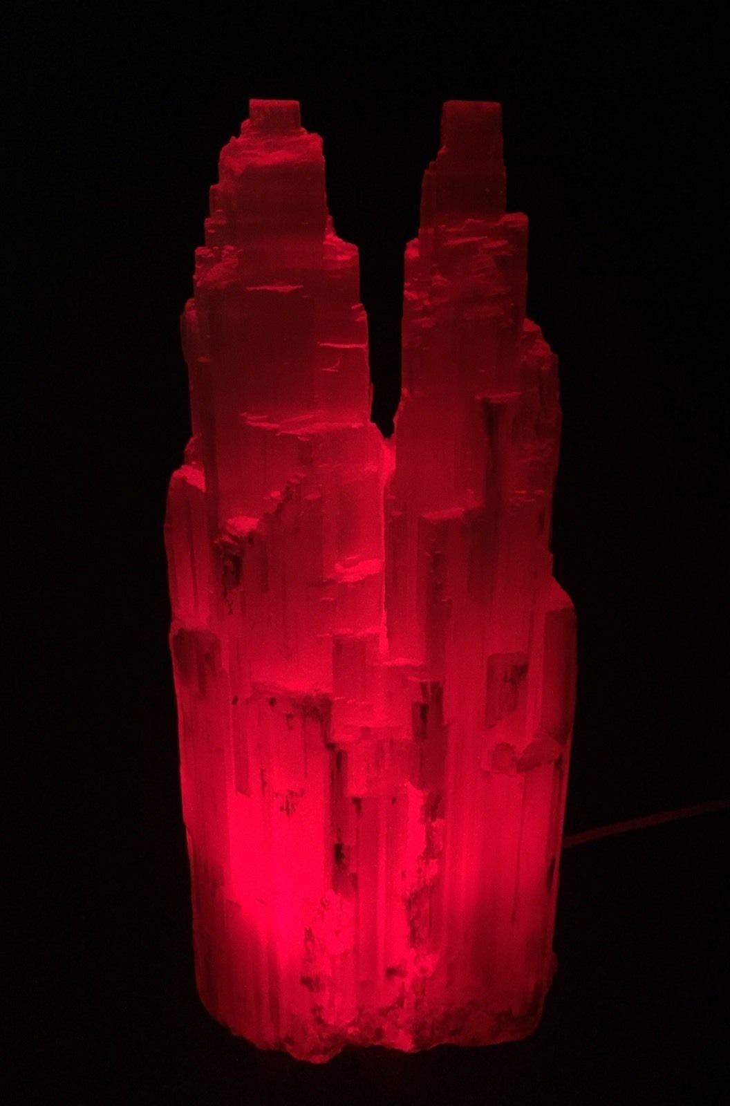 Large Selenite Lamp W/Cord Red LED Bulb Selenite Crystal Tower Two Point Double.Natural Crystals & Rocks for Cabbing, Cutting, Lapidary, Tumbling, Polishing, Wire Wrapping, Wicca by JumpingLight (Image #4)
