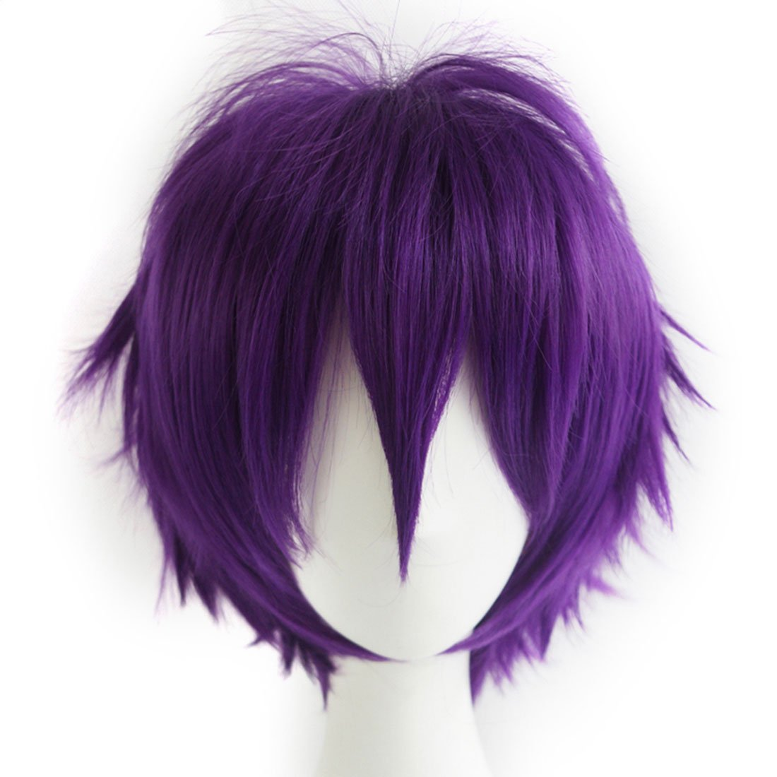 Alacos Purple Short Layered Anime Cosplay Wig Teens Men Boy Unisex Costumes Apparel Hair Wig +Cap