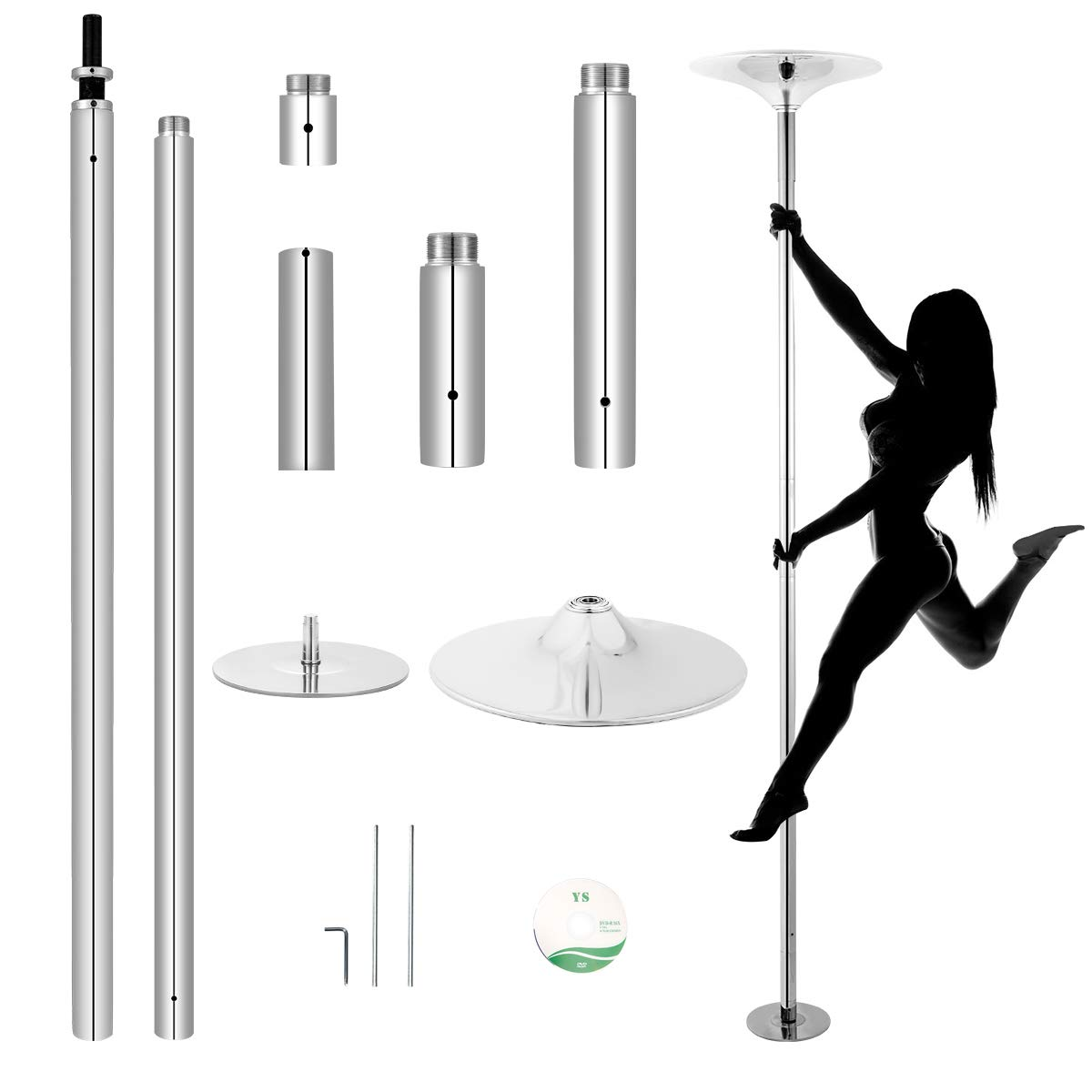 MELLCOM Dancing Pole Spinning Static Pole Dance with Adjustable Height, Portable Removable Pole Kit for Home Club Gym Bar