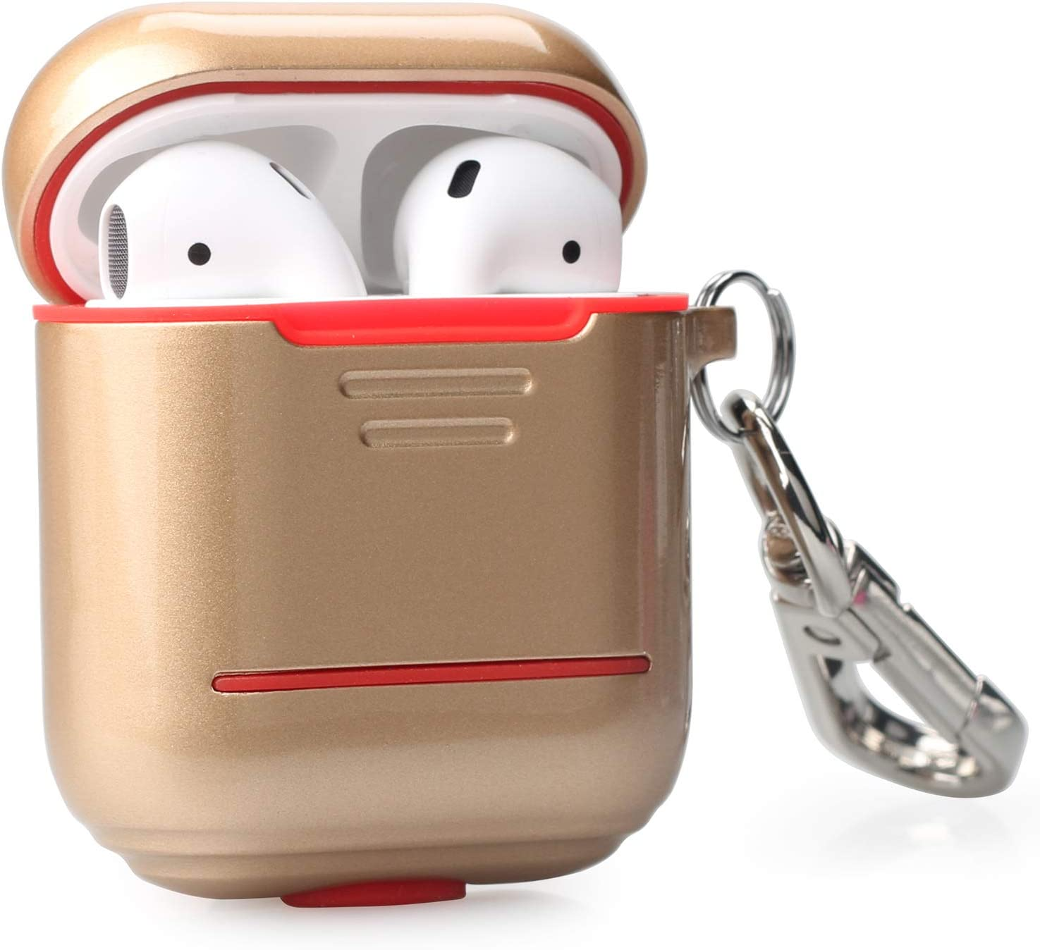 Gold AirPods Case Airpods1//2 Compatible Double Protection Alloy Metal Silicon Protective Holder Scratchproof with Anti-Lost Keychain