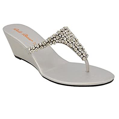 c8798b67548a18 LADIES FLAT DIAMANTE TOE POST WOMENS SPARKLEY DRESSY PARTY SANDALS SIZE 3 4  5 6 7 8 (UK 3   EU 36